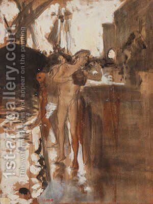The Balcony Spain and Two Nude Bathers Standing on a Wharf by Sargent - Reproduction Oil Painting
