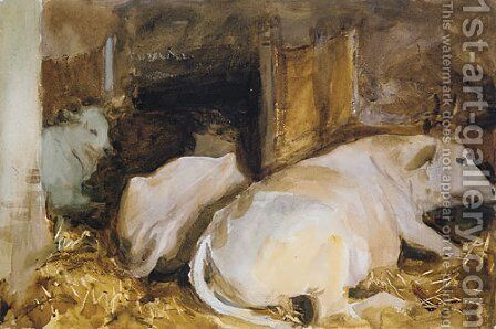 Three Oxen ca 1910 by Sargent - Reproduction Oil Painting