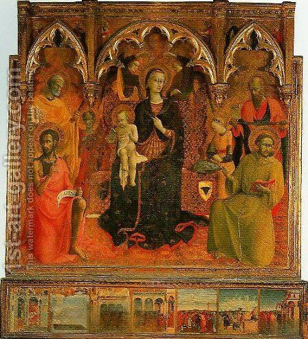 Madonna and Child Enthroned with Four Angels and SS John the Baptist Peter Francis and Paul by Stefano Di Giovanni Sassetta - Reproduction Oil Painting