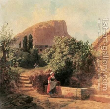 Italian Garden with Female Figure 1863 by Andras Marko - Reproduction Oil Painting