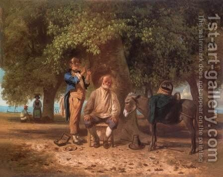 Travelling Barber 1863 by Andras Marko - Reproduction Oil Painting