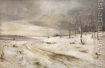 A Winter Road 1870s by Alexei Kondratyevich Savrasov - Reproduction Oil Painting