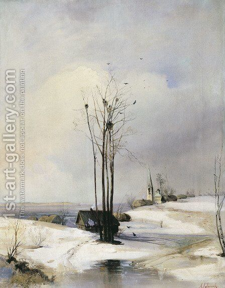 Early Spring Thaw 1880s by Alexei Kondratyevich Savrasov - Reproduction Oil Painting