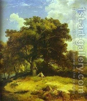 Landscape With Oaks 1850s Moscow Russia by Alexei Kondratyevich Savrasov - Reproduction Oil Painting