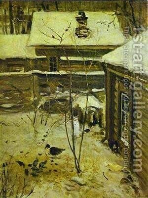 Yard Winter1870s by Alexei Kondratyevich Savrasov - Reproduction Oil Painting