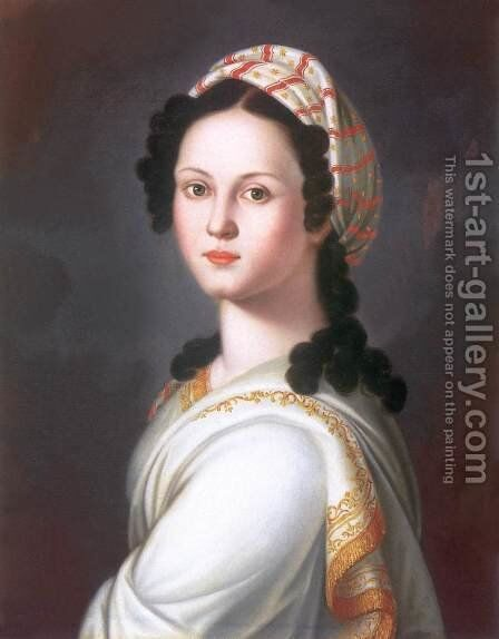 Portrait of a Young Lady by Janos Donat - Reproduction Oil Painting