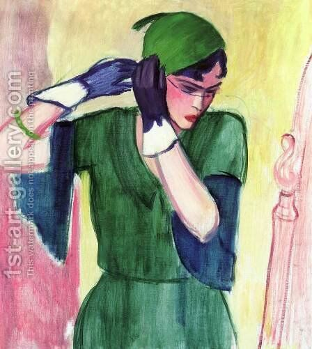 Roman Lady in Green by Attila Sassy - Reproduction Oil Painting