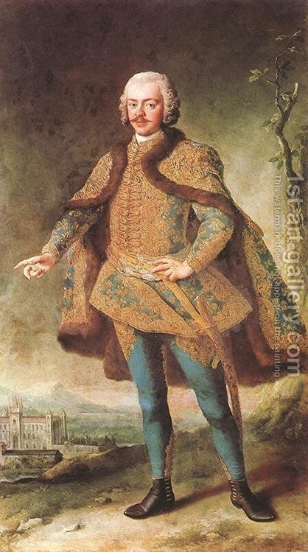 Portrait of Denes Banffy mid 18th century by Martin II Mytens or Meytens - Reproduction Oil Painting