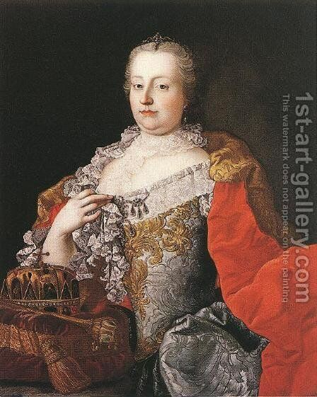 Queen Maria Theresia 1750s by Martin II Mytens or Meytens - Reproduction Oil Painting
