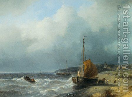 Fisherfolk by a Beached Bomschuit by Andreas Schelfhout - Reproduction Oil Painting