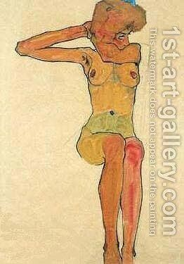 Nue Assise by Egon Schiele - Reproduction Oil Painting
