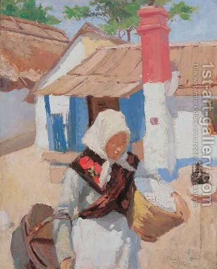 Peasant Girl Bringing Basket 1904 by De Lorme and Ludolf De Jongh Anthonie - Reproduction Oil Painting