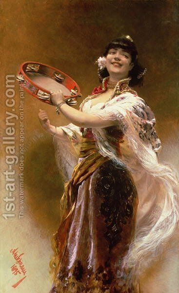 Gypsy Girl with a Tambourine by Alois Hans Schramm - Reproduction Oil Painting