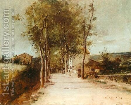 Avenue with One Story House 1882 by Mihaly Munkacsy - Reproduction Oil Painting
