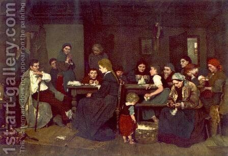 Making Lint 1871 by Mihaly Munkacsy - Reproduction Oil Painting