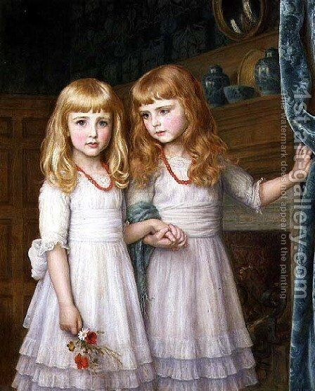 Marjorie and Lettice Wormald by Arthur Hughes - Reproduction Oil Painting