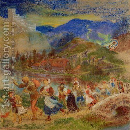 Villagers fleeing from a dragon by Arthur Hughes - Reproduction Oil Painting