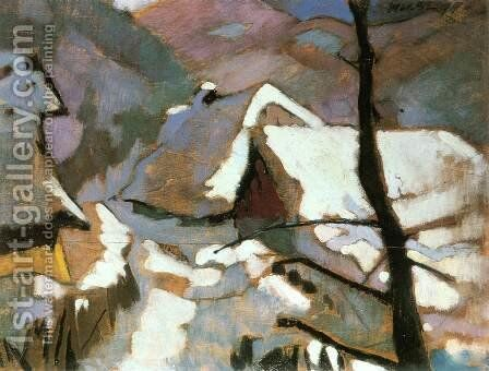 Houses in Winter at Felsobanya 1928 by Odon Marffy - Reproduction Oil Painting