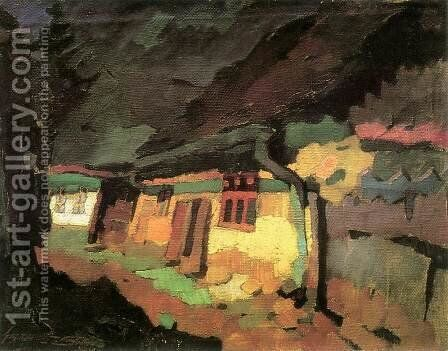 Yellow House 1933 by Odon Marffy - Reproduction Oil Painting