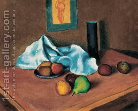Still life with Green Pear 1909 by Miksa Roth - Reproduction Oil Painting