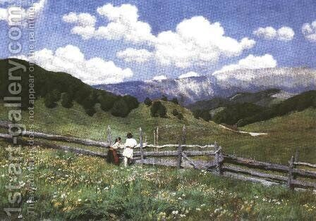 At the Romanian Border 1900 by Mund Hugo - Reproduction Oil Painting