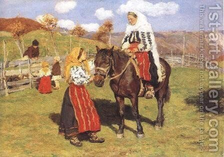 Romanian Woman on the Way to Church 1906 by Mund Hugo - Reproduction Oil Painting