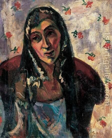 Self-portrait with Shawl by Louis Valtat - Reproduction Oil Painting