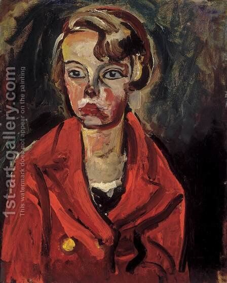 Child in Red Coat 1930 by Bela Onodi - Reproduction Oil Painting