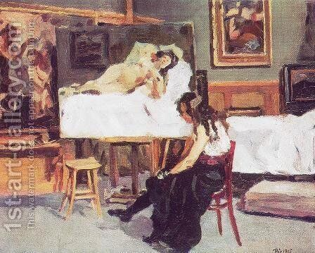In the Studio 1905 by Bela Onodi - Reproduction Oil Painting