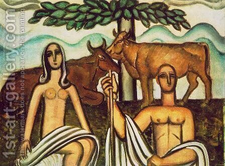 Shepherd and his Lover 1927 by Bela Onodi - Reproduction Oil Painting