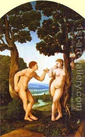 Adam And Eve 1540 by Jan Van Scorel - Reproduction Oil Painting