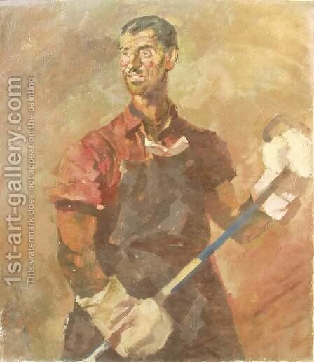 Furnaceman 1950 by Gizella Domotor - Reproduction Oil Painting