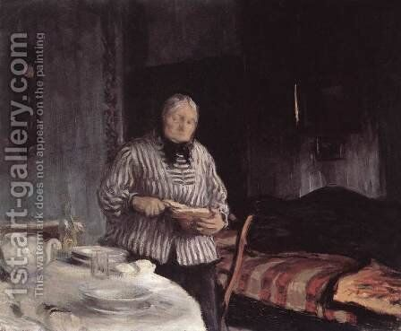 Slicing the Bread 1918 by Istvan Boldizsar - Reproduction Oil Painting