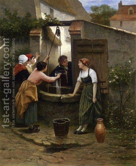 By the Well by Guillaume Seignac - Reproduction Oil Painting