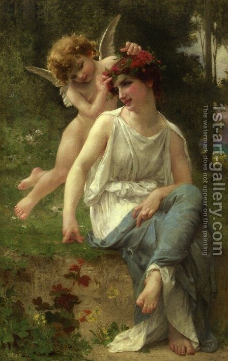 Cupid Adoring a Young Maiden by Guillaume Seignac - Reproduction Oil Painting