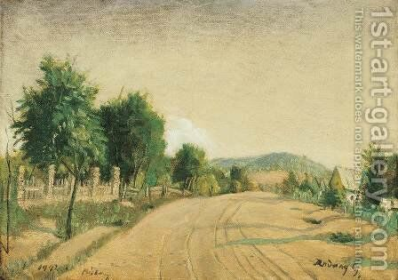 Street at Babony 1942 by Gyorgy Roman - Reproduction Oil Painting