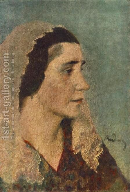 Woman with Lace Scarf c 1924 by Gyorgy Roman - Reproduction Oil Painting