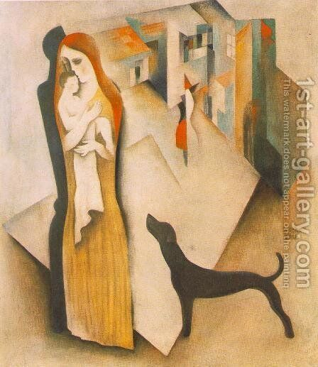 Mother with Child 1930 by Aurel Bernath - Reproduction Oil Painting