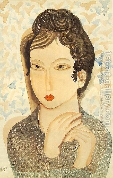 Portrait of a Woman with Black Hair 1938 by Aurel Bernath - Reproduction Oil Painting