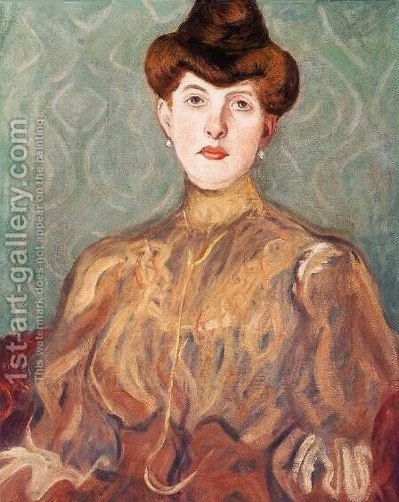 Portrait of the Artist's Wife 1907 by Aurel Bernath - Reproduction Oil Painting