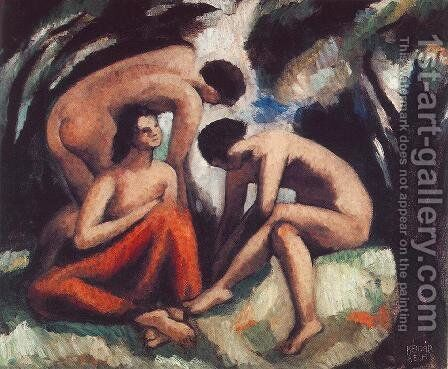 Three Nudes 1916 by Aurel Bernath - Reproduction Oil Painting