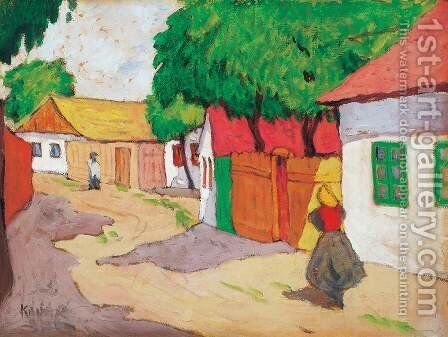 Village Street by Aurel Bernath - Reproduction Oil Painting