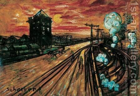 Bridge at the Railway Station-2 by Gyula Batthyany - Reproduction Oil Painting