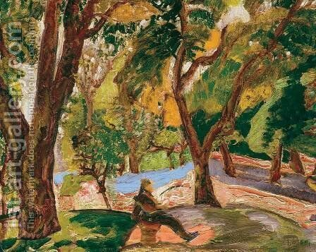 In the Park 1920 23 by Gyula Batthyany - Reproduction Oil Painting