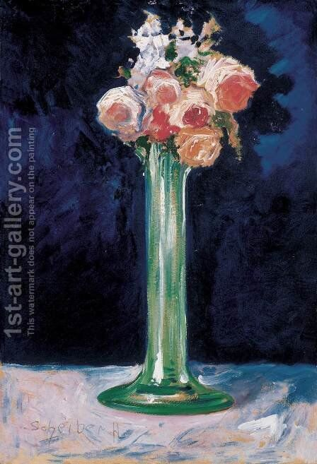 Roses in a Green Vase c 1900 by Gyula Batthyany - Reproduction Oil Painting
