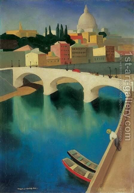 The Tevere at the Ponte Sisto 1930 by Bela Czobel - Reproduction Oil Painting