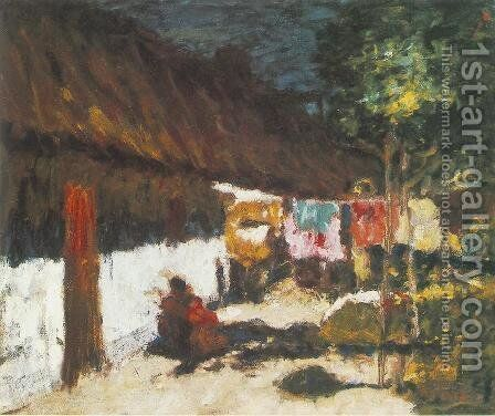 Drying Clothes 1920s by Jeno Remsey - Reproduction Oil Painting