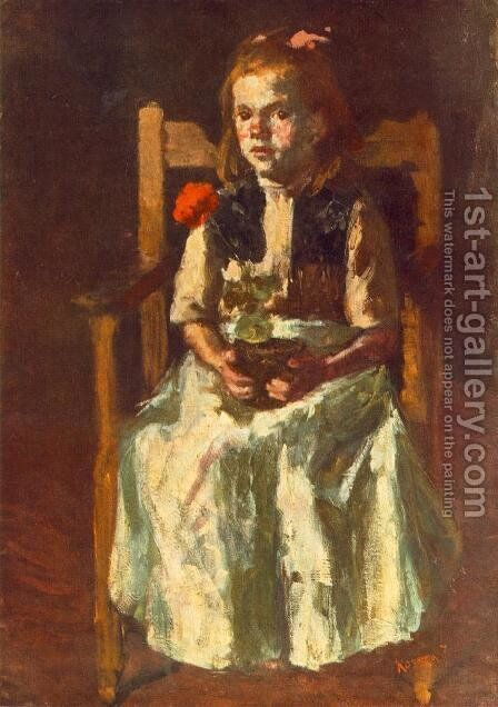 Girl with Geranium 1917 by Jeno Remsey - Reproduction Oil Painting