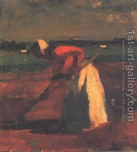 Hoeing Woman 1906 by Jeno Remsey - Reproduction Oil Painting