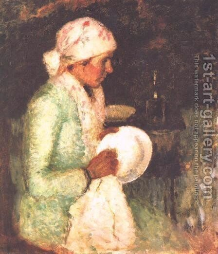Woman Drying a Plate 1919 by Jeno Remsey - Reproduction Oil Painting